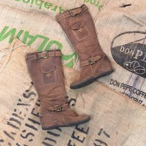 Ruff Hewn knee high suede tan boots